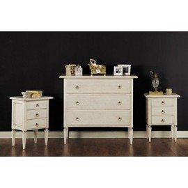 COMO '3 drawers and 2 COMODINI PAINTED IVORY ANTIQUE