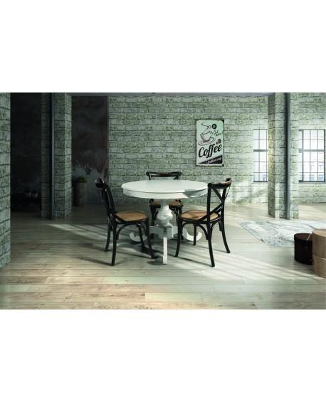 Tavolo legno rotondo colore bianco opaco allungabile varie dimensioni - Tavolo rotondo allungabile bianco ...