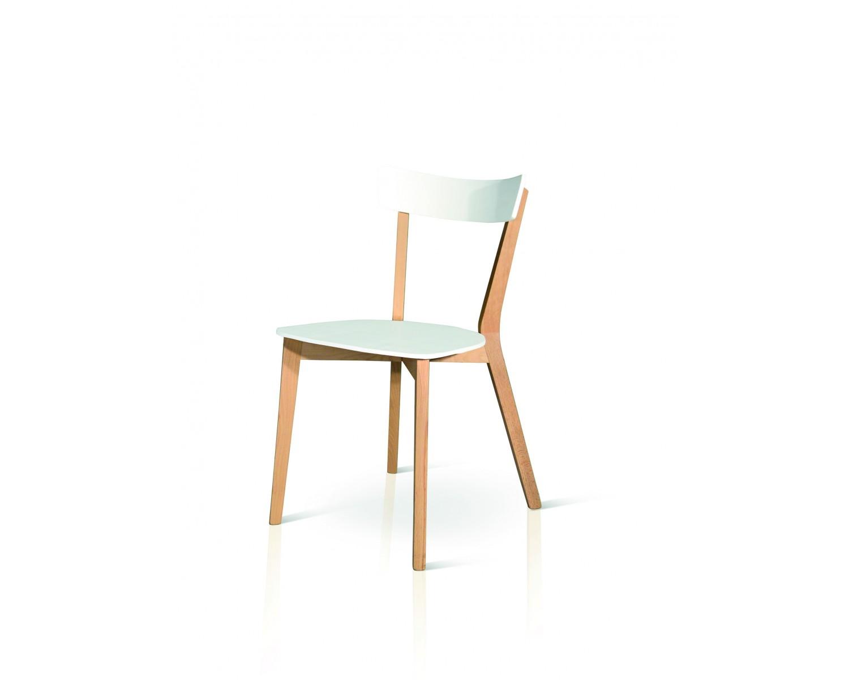 Sedia moderna design legno naturale e col bianco for Sedia moderna design