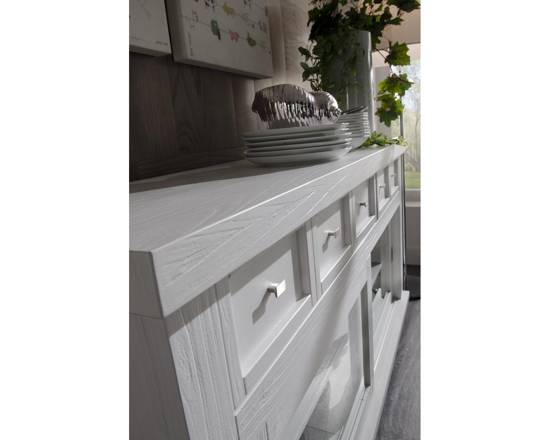 Credenza Arte Povera Legno Massello : Credenza dispensa vetrina country design laccato bianco legno massello