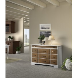 CREDENZA DISPENSA COUNTRY PROVENZALE LACCATO BICOLORE- LEGNO MASSELLO VENETO