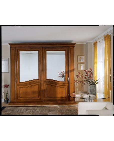 Armadio camera ante scorrevoli con specchio legno masselloartigianale - Cucine con ante scorrevoli ...