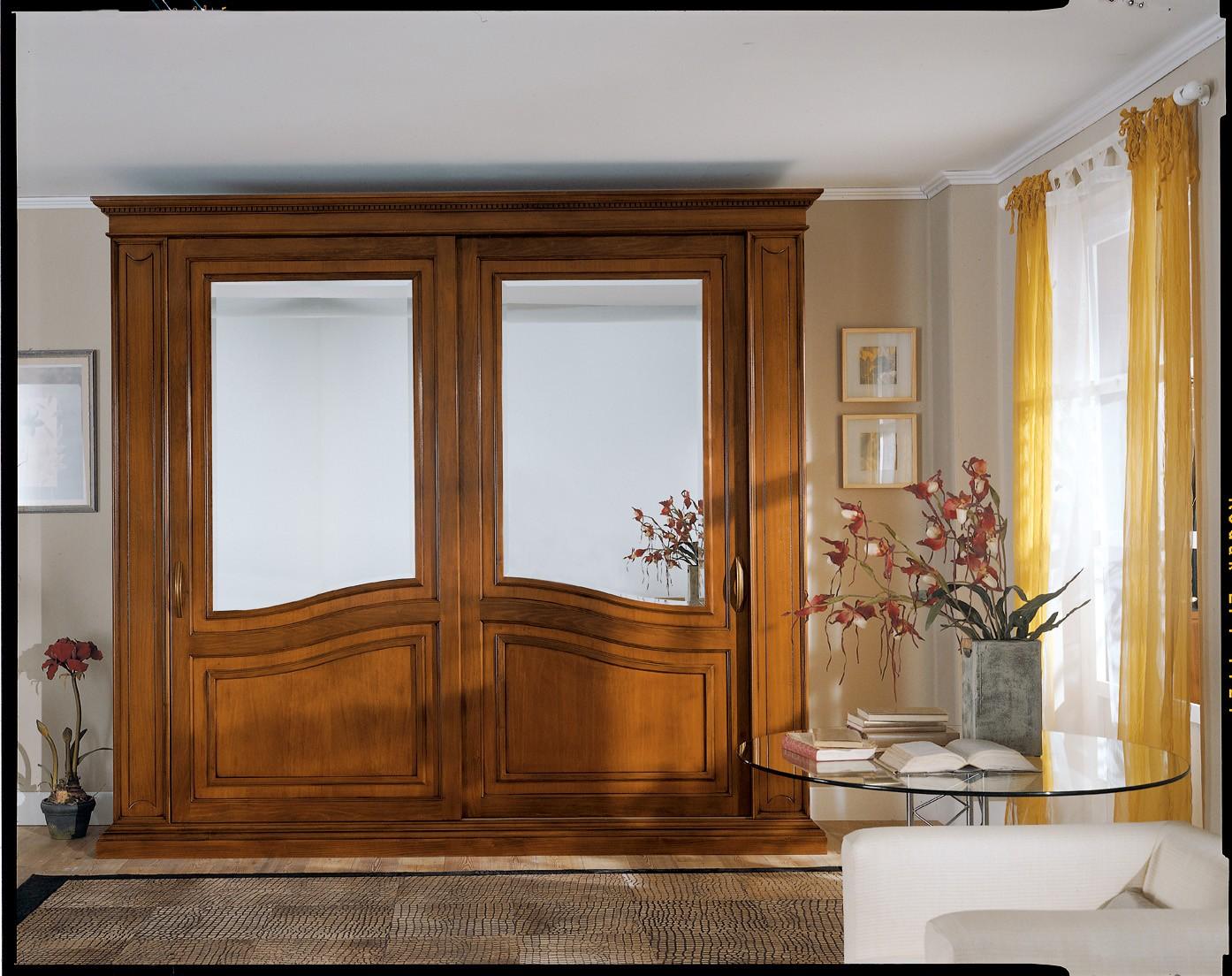 Armadio Ante Scorrevoli Ciliegio.Armadio Camera Ante Scorrevoli Con Specchio Legno Masselloartigianale