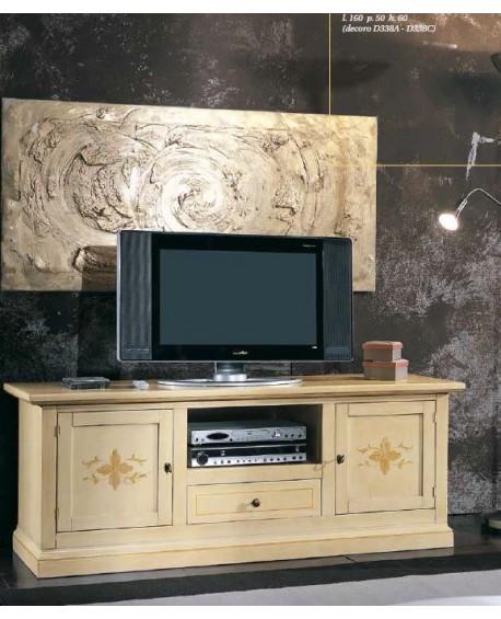 Credenza Porta Tv.Porta Tv Credenza Bassa In Legno Decorata A Mano Vari Colori Estea Mobili