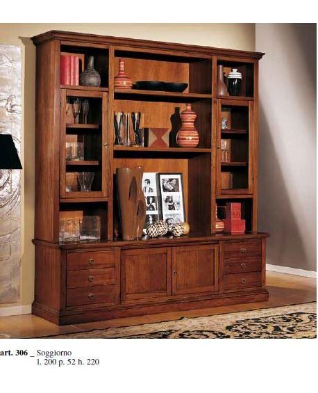 Parete a giorno libreria porta tv in legno vari colori for Parete giorno
