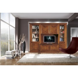 WALL LIVING LIBRARY WOOD INLAID