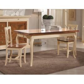 TABLE SOLID WOOD BICOLORE PROVENZALE 140x85 ALLUNGABILELEGNO
