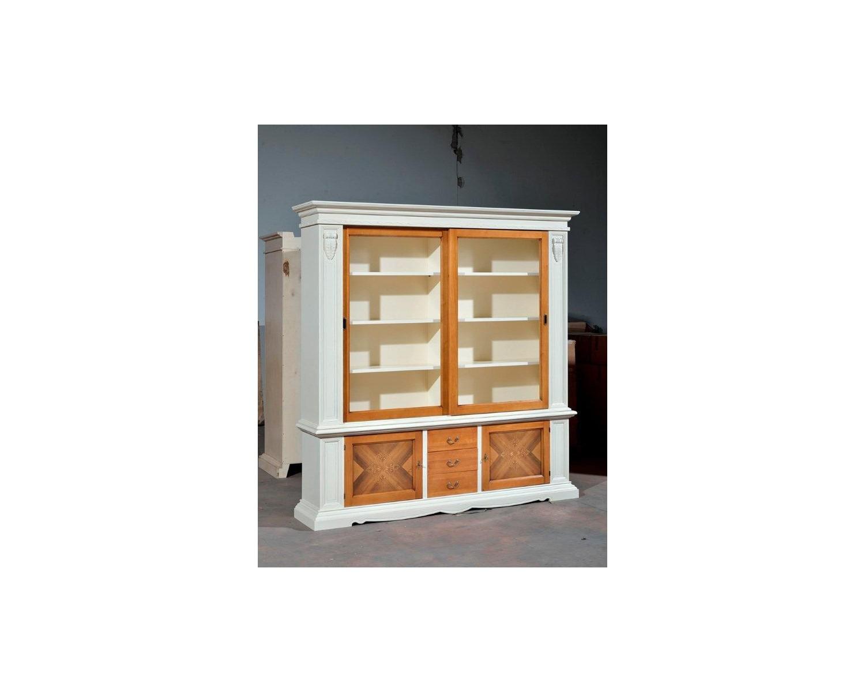 Libreria 2 porte scorrevoli legno massello finitura bicolore come foto codluis 1014 - Foto porte scorrevoli ...