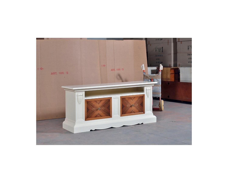 Base mobile porta tv credenza bassa legno massello bicolore come foto con intarsio codluis 1020 - Mobile porta tv legno ...