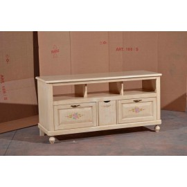 BENCH MOBILE TV STAND WOOD IVORY brushed DECORATED - codluis 1065