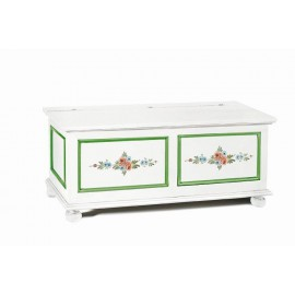 CHEST WOOD MATT WHITE WITH GREEN DECORATIONS AND FLOWERS - codluis 335
