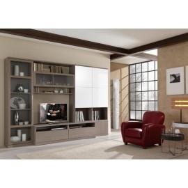 PARETE DA SOGGIORNO MODERNO PORTA TV vari colori - frassinato e lucido