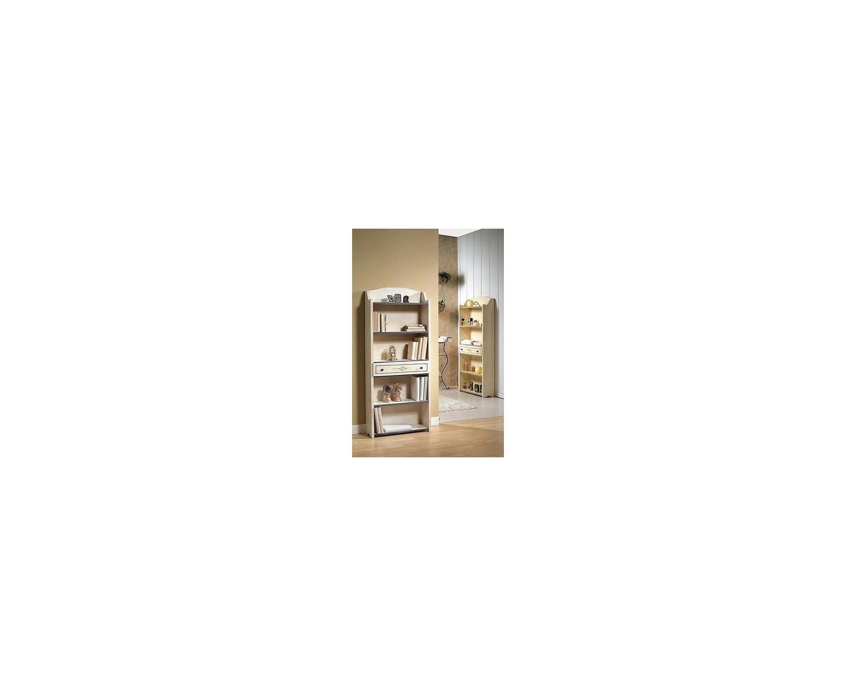 biblioth que du bois laqu blanc fil bleu. Black Bedroom Furniture Sets. Home Design Ideas