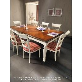 Tavolo rettangolare intarsiato bicolore legno massello for Tavolo legno intarsiato