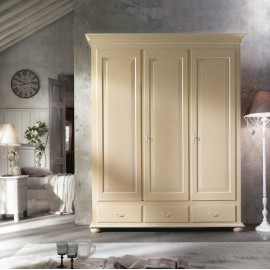 CABINET 3 DOORS WOOD PROVENZALE CREAM AND WHITE ANTIQUE - VARIOUS COLORS