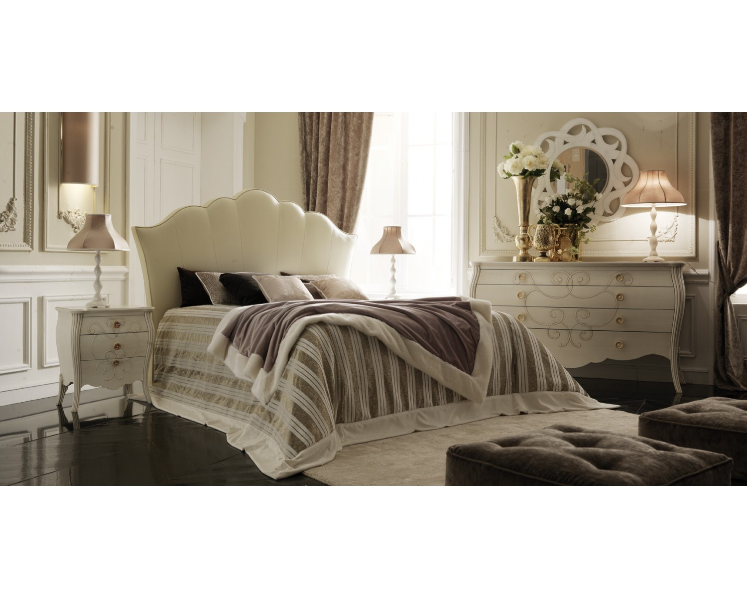 Mobili Letto Como.Bedroom As Photo Wood Rounded White Bed Como Comodini