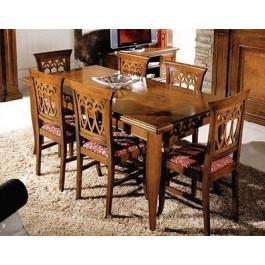Tavolo stile bassato intarsiato legno massello for Tavolo legno intarsiato