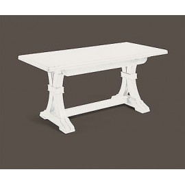 WOODEN TABLE 180 X 85ALLUNGABILE MATT WHITE - IVORY ANTIQUE