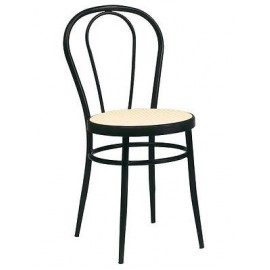 THONET CHAIR OF 4 CHAIRS BLACK METAL MEETING OF VIENNA STRAW KITCHEN HALL